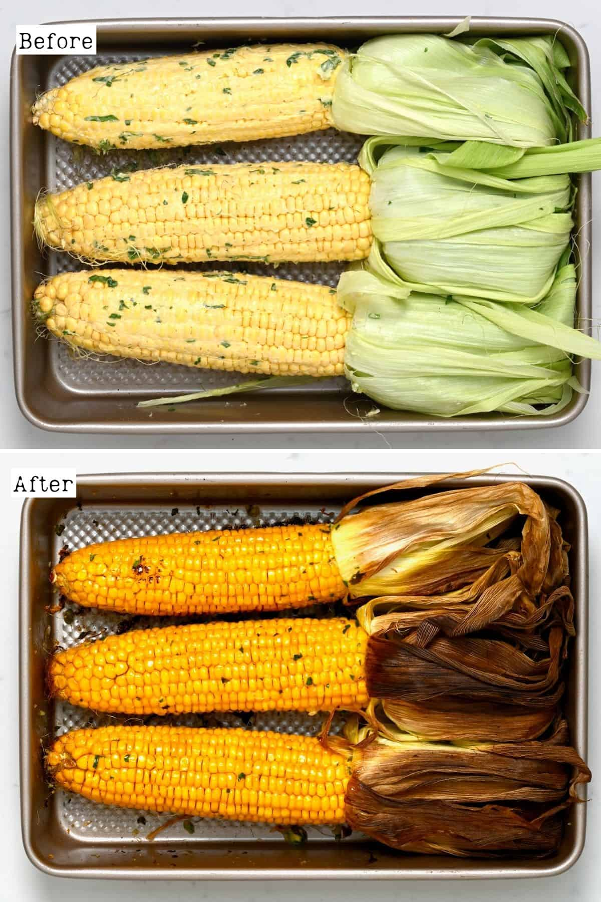 Before and after roasting corn