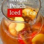 A jug with peach iced tea