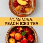 A jug of peach iced tea and peaches