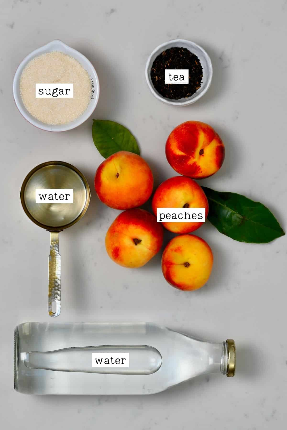 Ingredients for peach ice tea