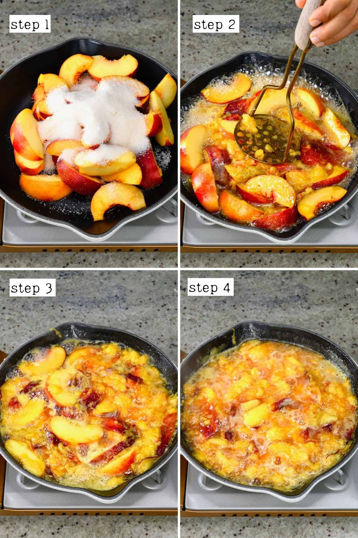 Steps for making peach syrup