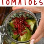 The spices in a jar with pickled green tomatoes