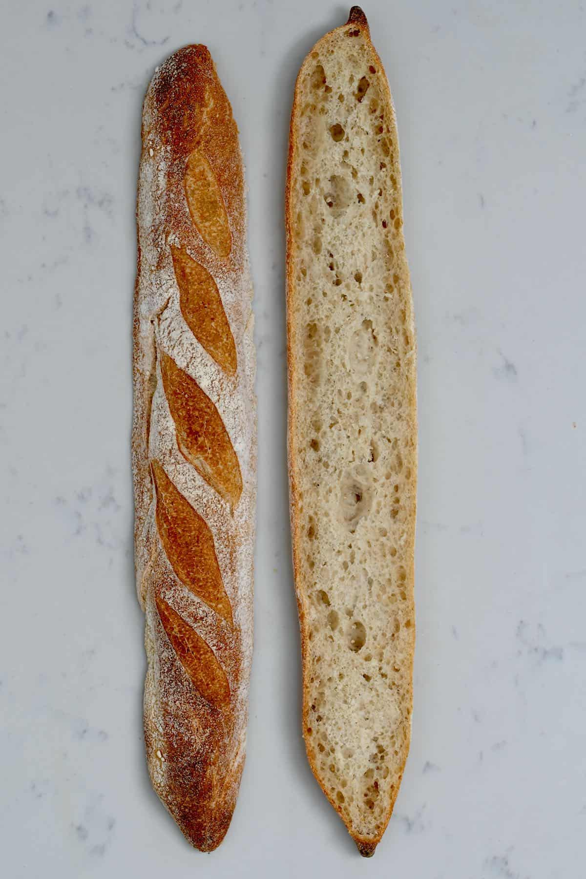 A baguette sliced in two