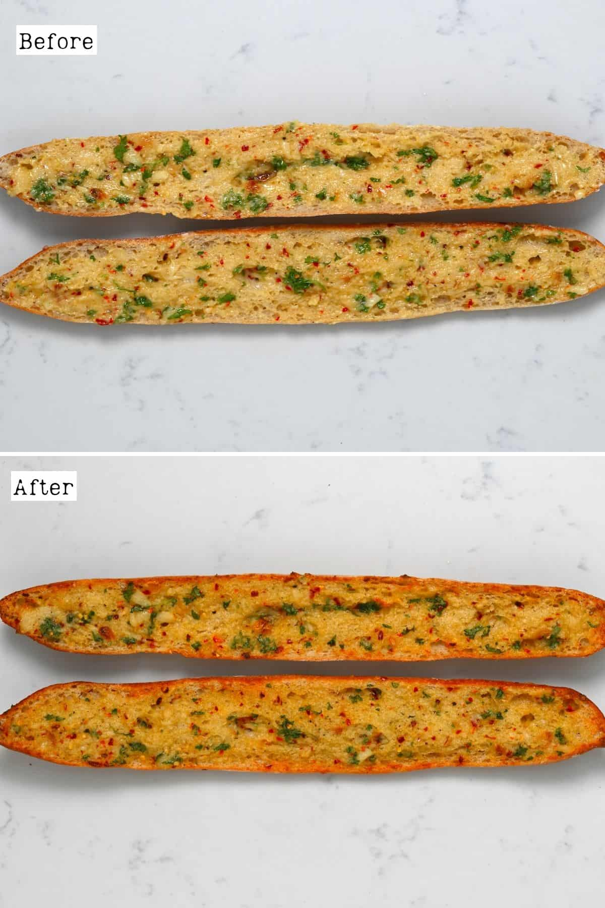 Before and after roasting garlic bread