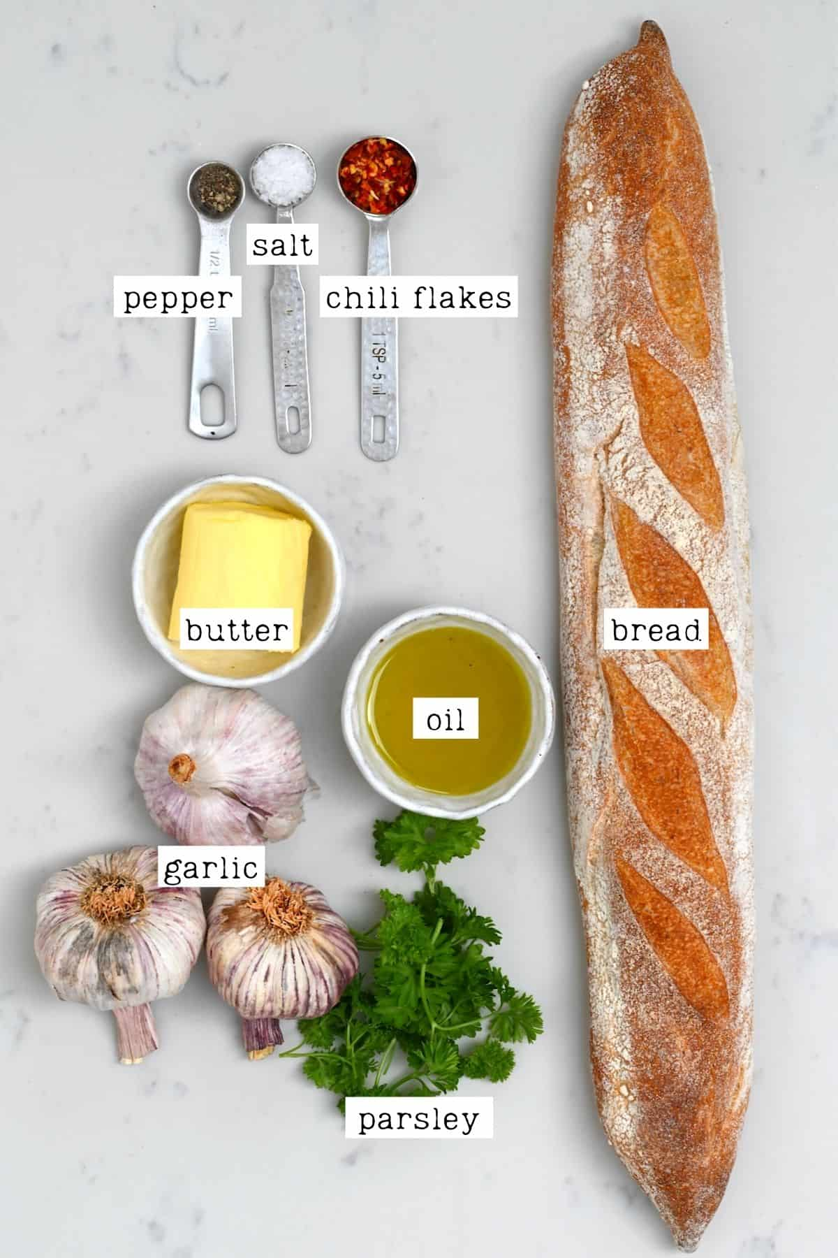 Ingredients for roasted garlic bread