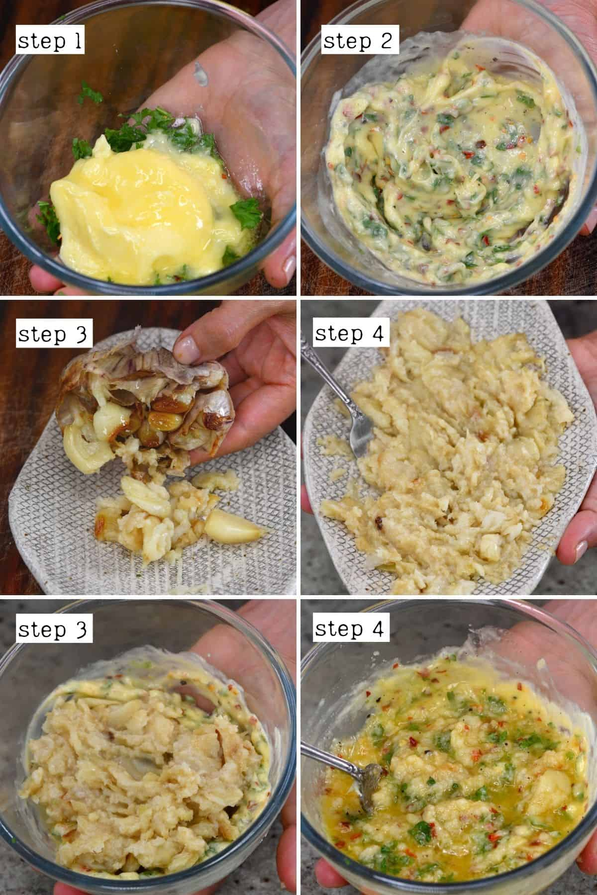 Steps for mixing roasted garlic with butter