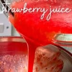 Pouring strawberry juice in a bottle