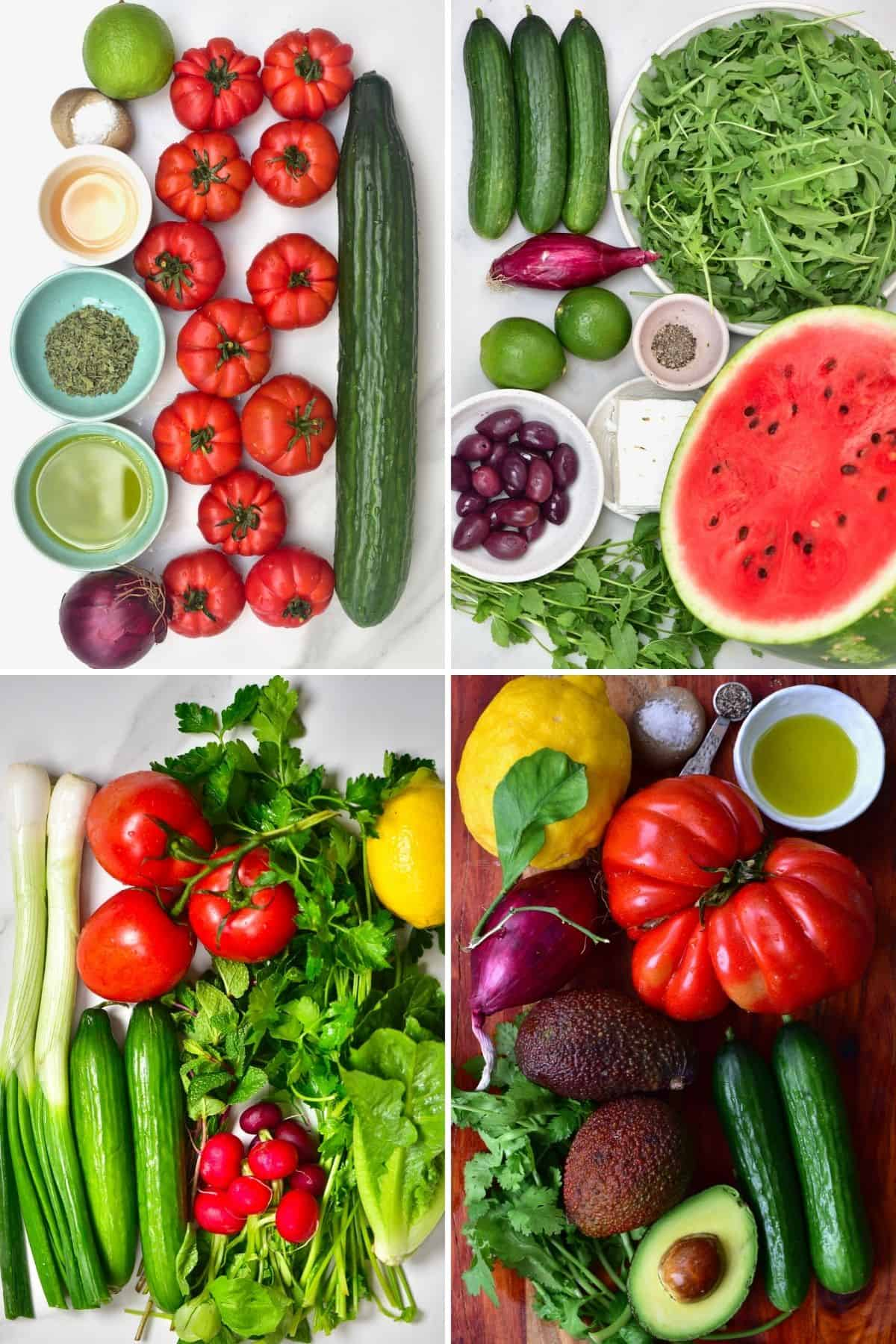 Ingredients for easy summer salads