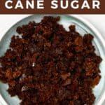 Unrefined cane sugar in a plate