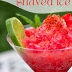 Watermelon shaved ice granita topped with lime and mint