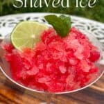 Watermelon shaved ice granita topped with mint