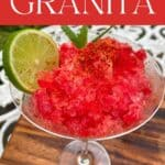 Watermelon shaved ice granita topped with lemon