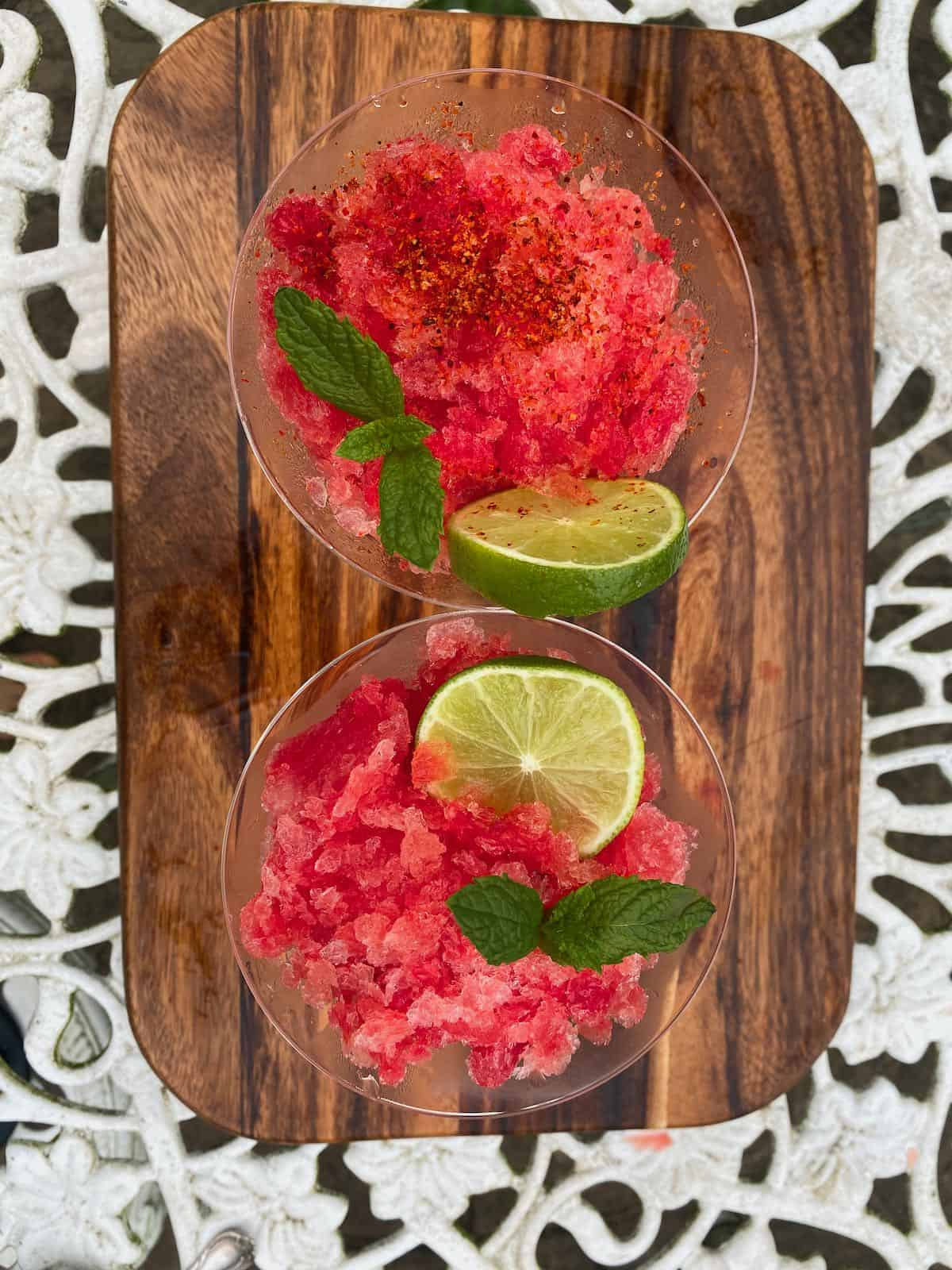Two servings of watermelon slush