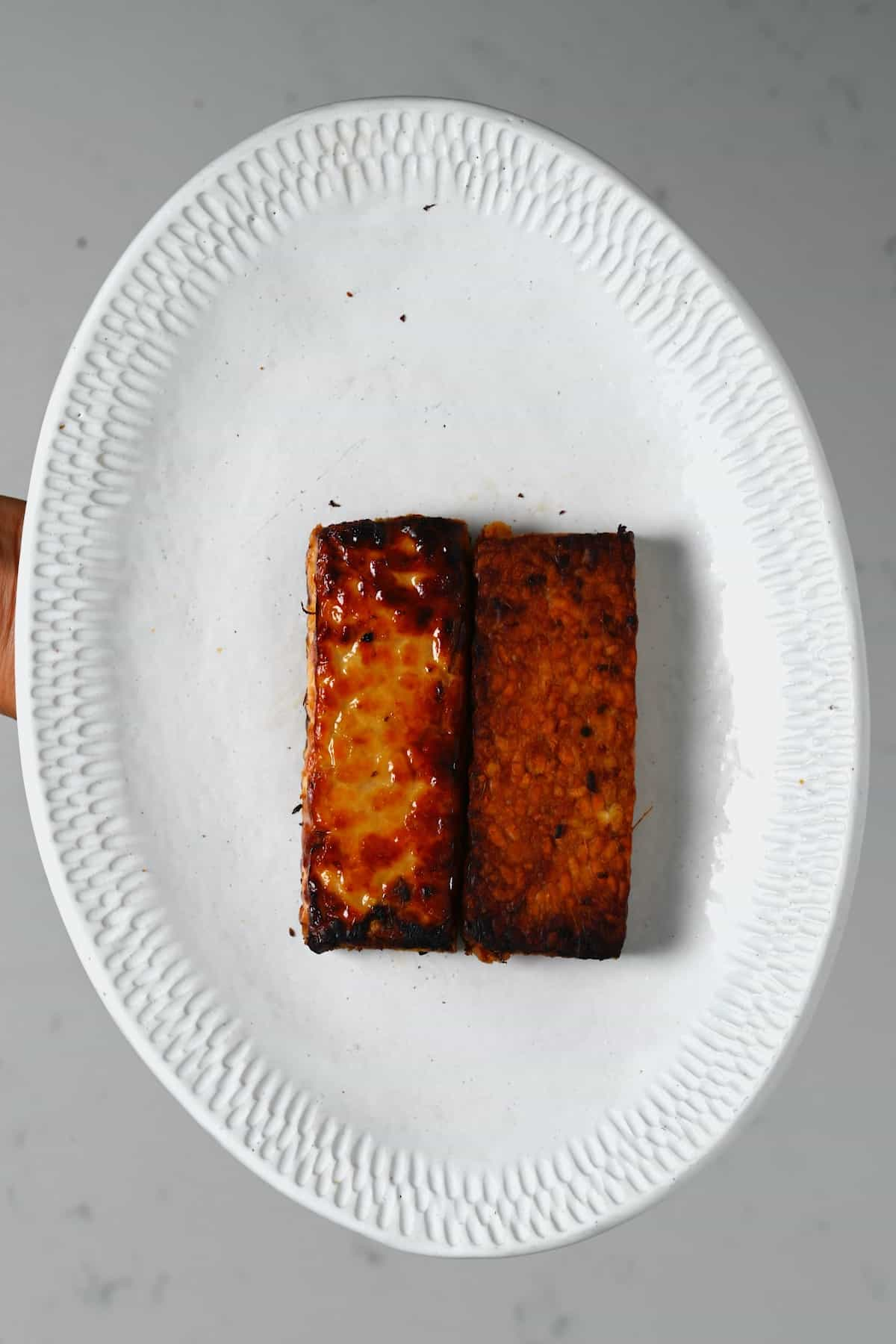 A plate with pan-fried tempeh