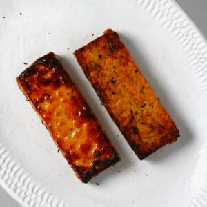 Fried tempen on a plate