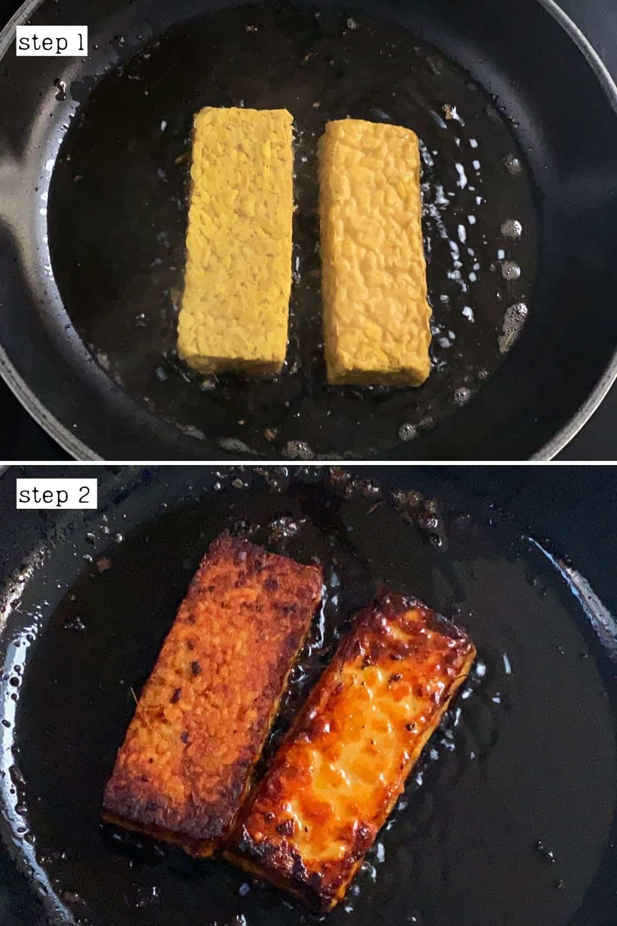 Steps for pan-frying tempeh