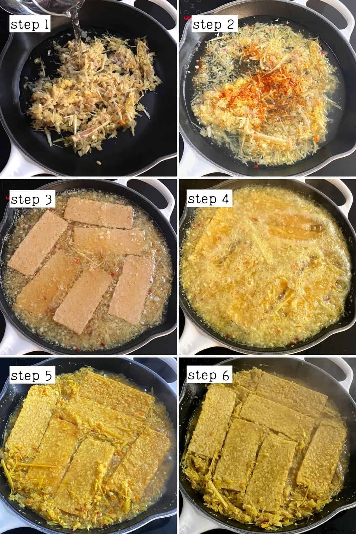 The steps for cooking tempeh