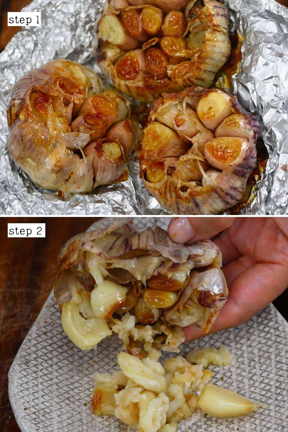 Taking out roasted garlic cloves