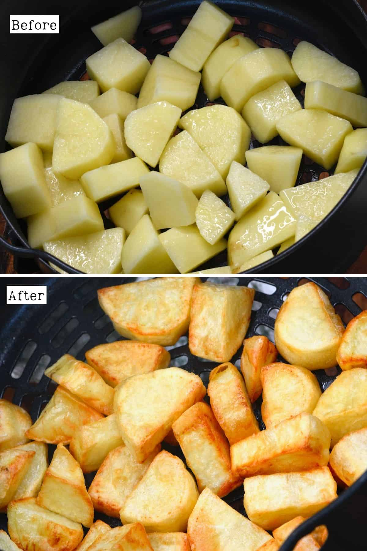Before and after baking potatoes