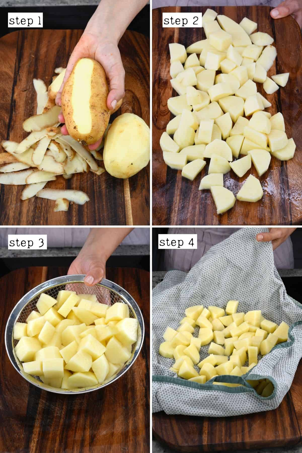 Steps for chopping potatoes