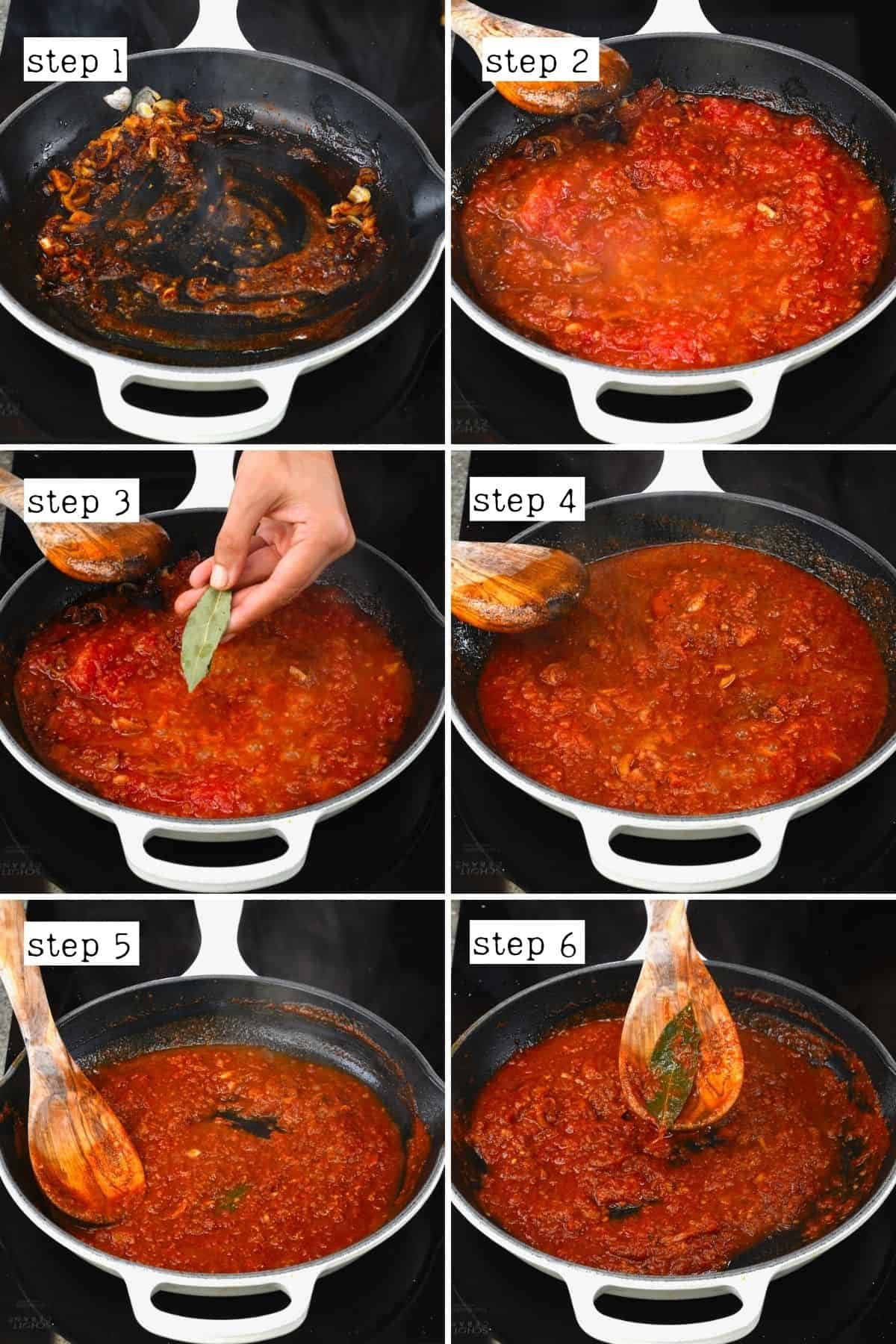 Steps for cooking tomato sauce