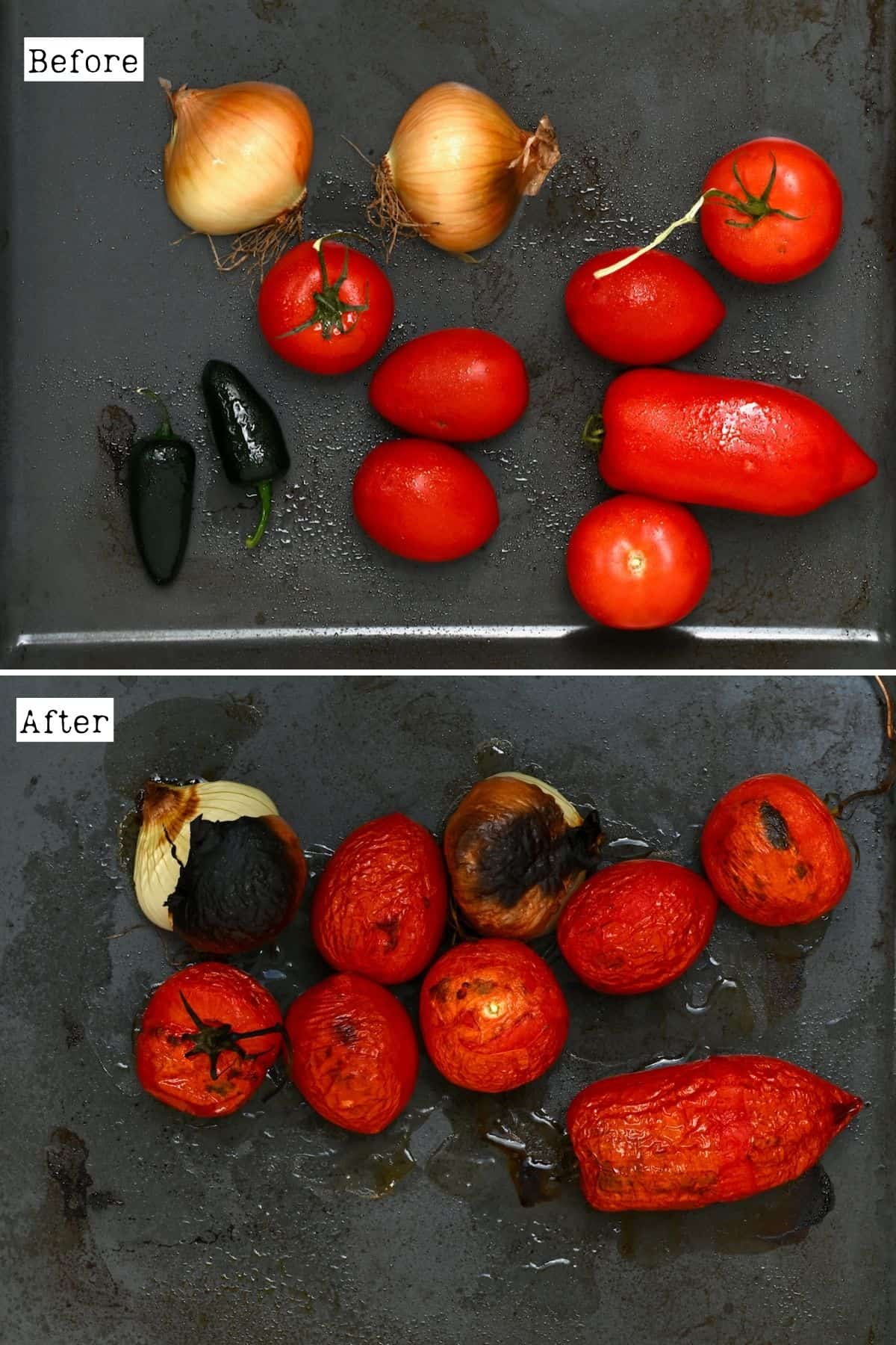Before and after roasting tomatoes, onions and chili peppers