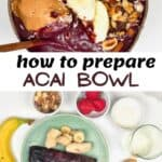 Acai bowl topped with banana and strawberries and ingredients to make it
