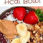 Acai bowl topped with banana and strawberries