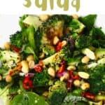 A bowl with broccoli salad