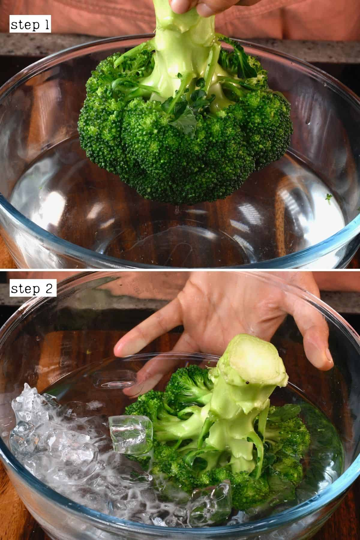 Steps for blanching broccoli