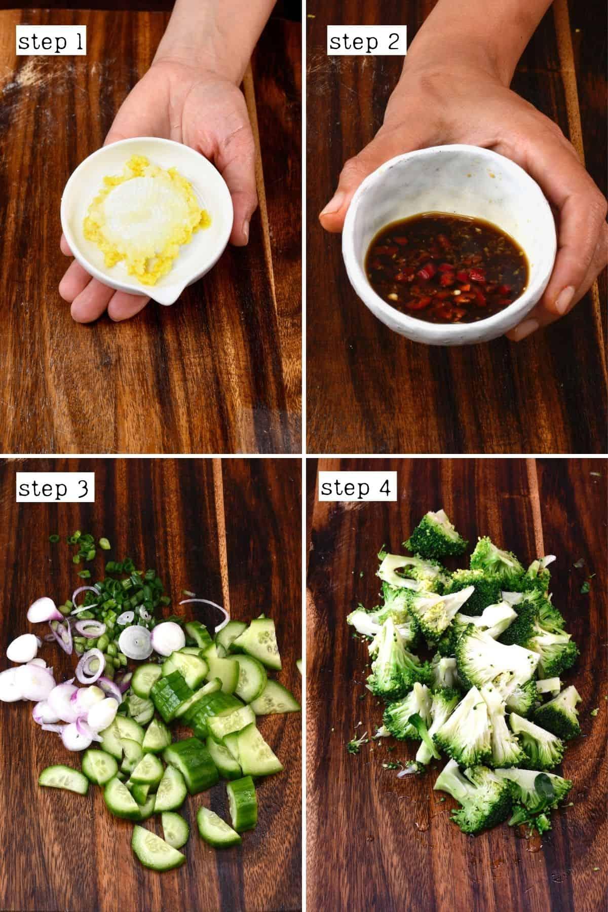 Steps for preparing Asian broccoli salad