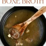 Homemade beef broth in a pot