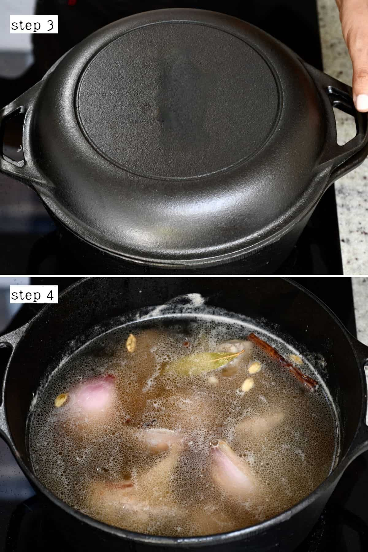 Steps to simmer beef broth
