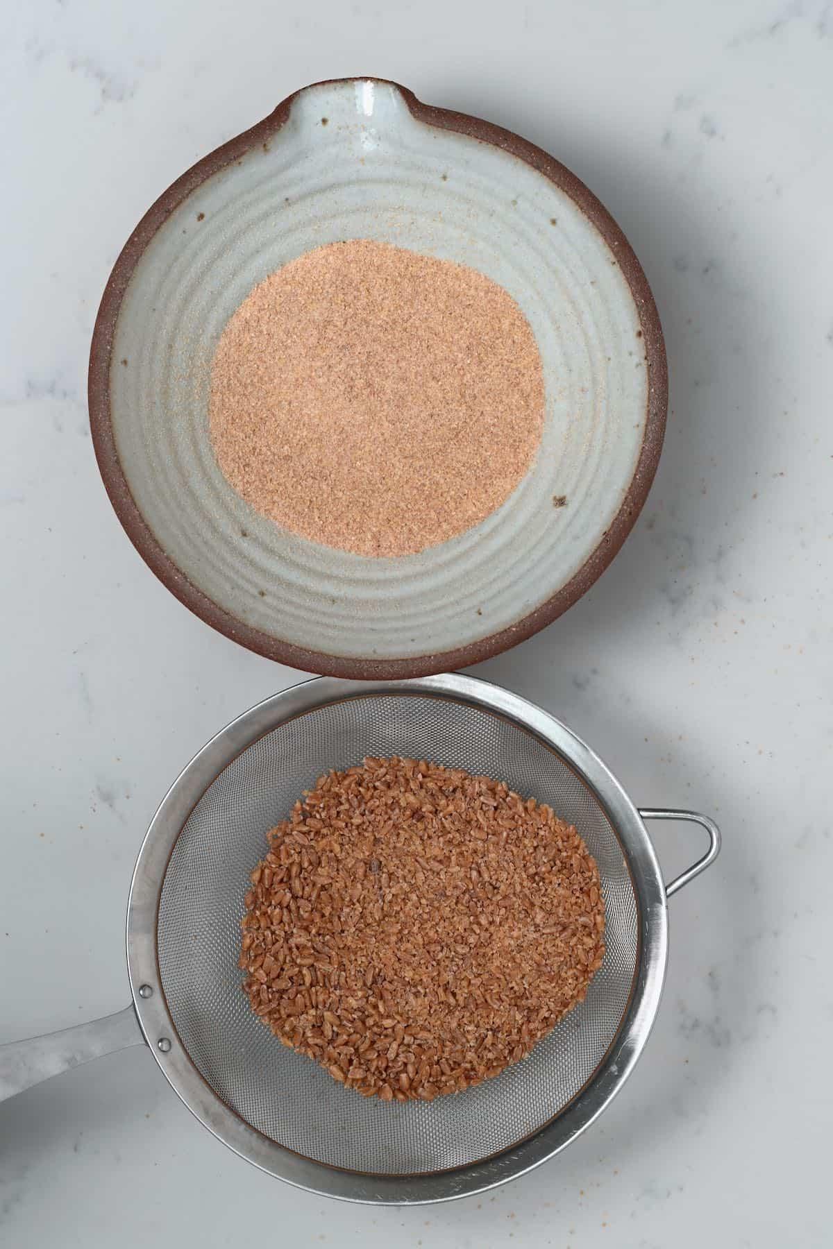 Sieving bulgur wheat
