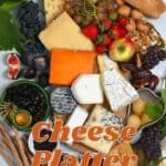 Cheese board selection of ingredients