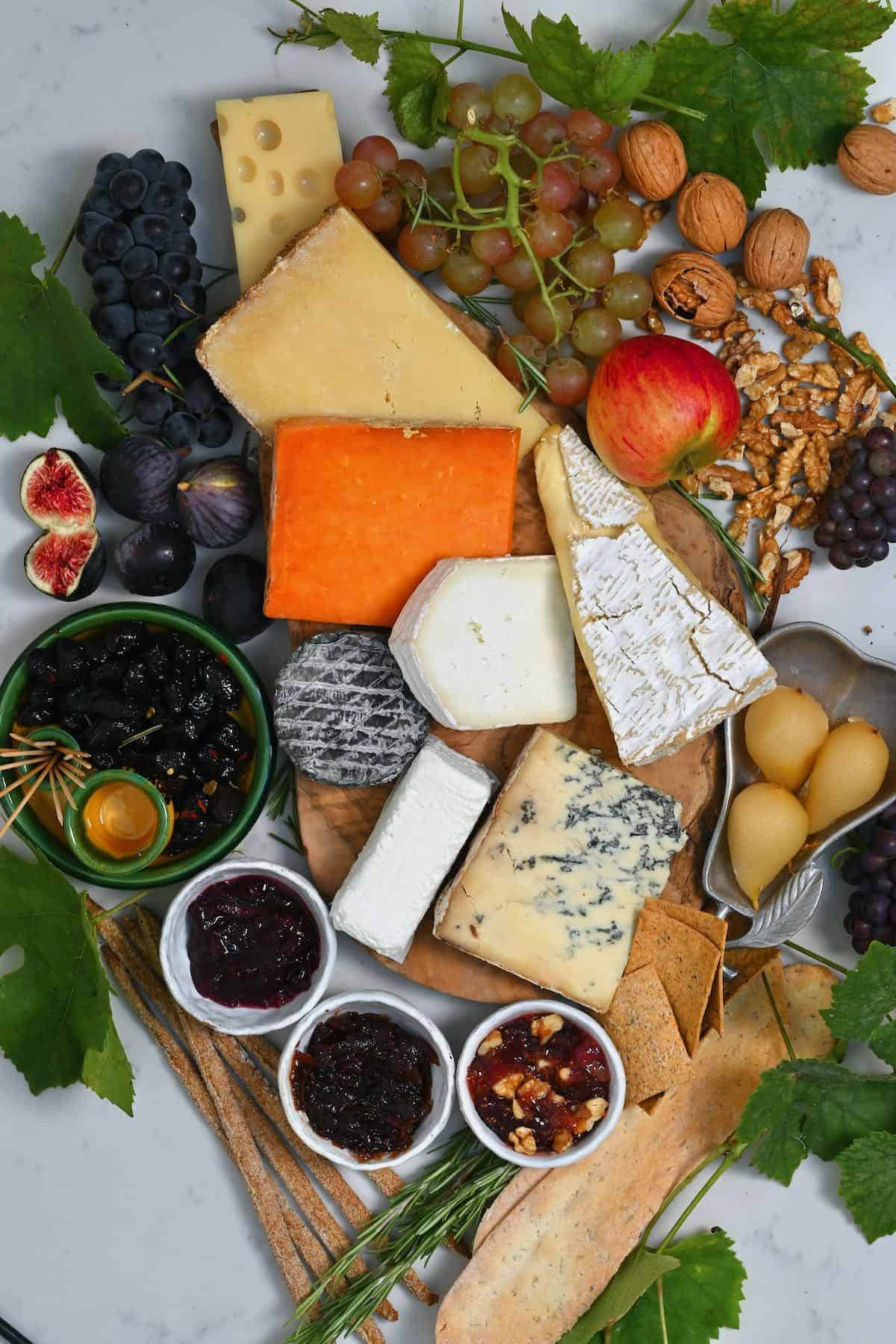 Selection of fruit and cheese for a cheese platter