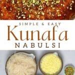 Cheese kunafa and ingredients to make it