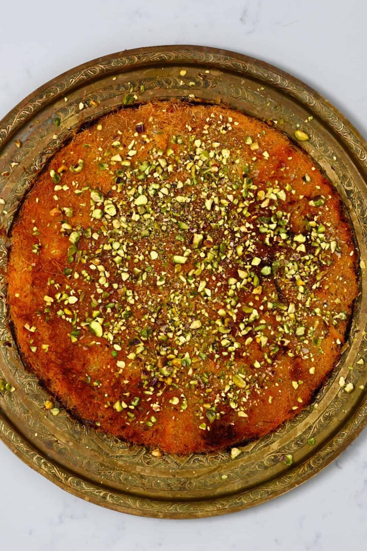 Cheese kunafa on a platter