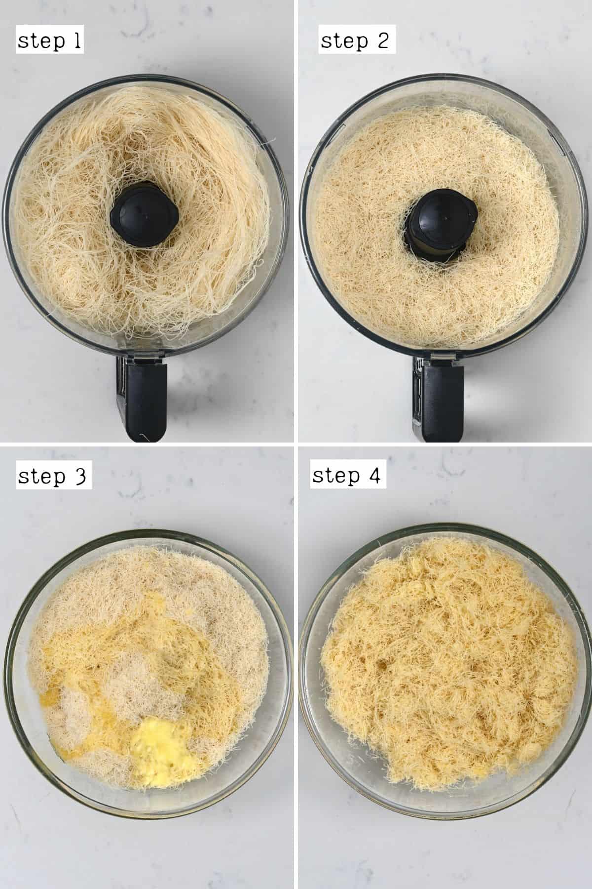 Steps for preparing kataifi dough