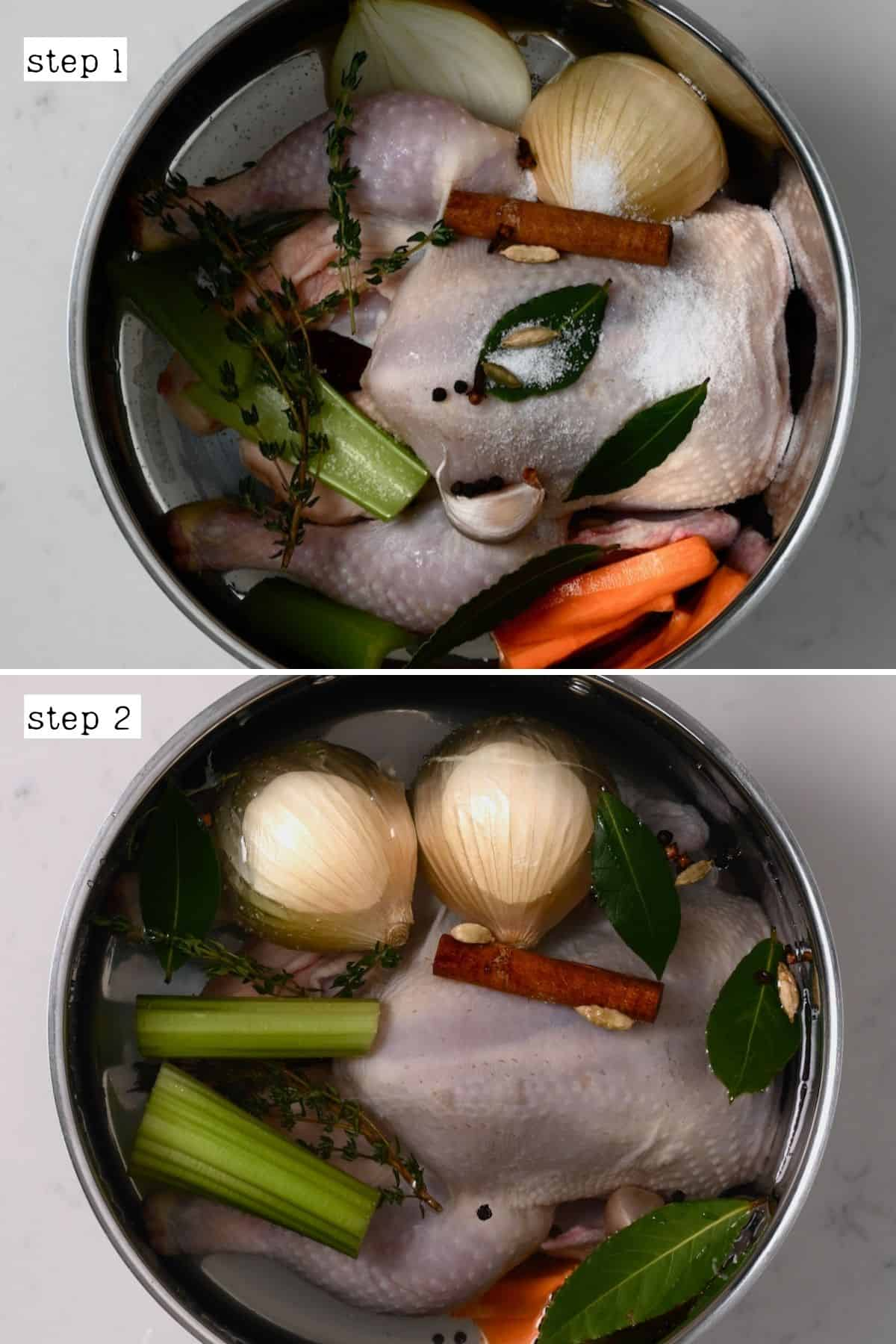 Steps for making chicken broth