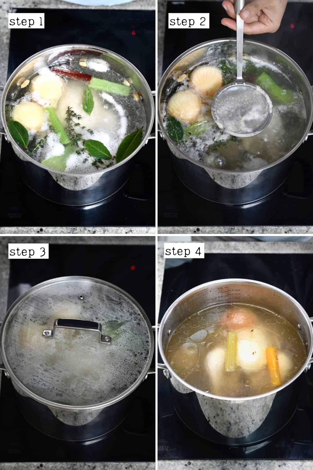 Steps for making homemade chicken broth