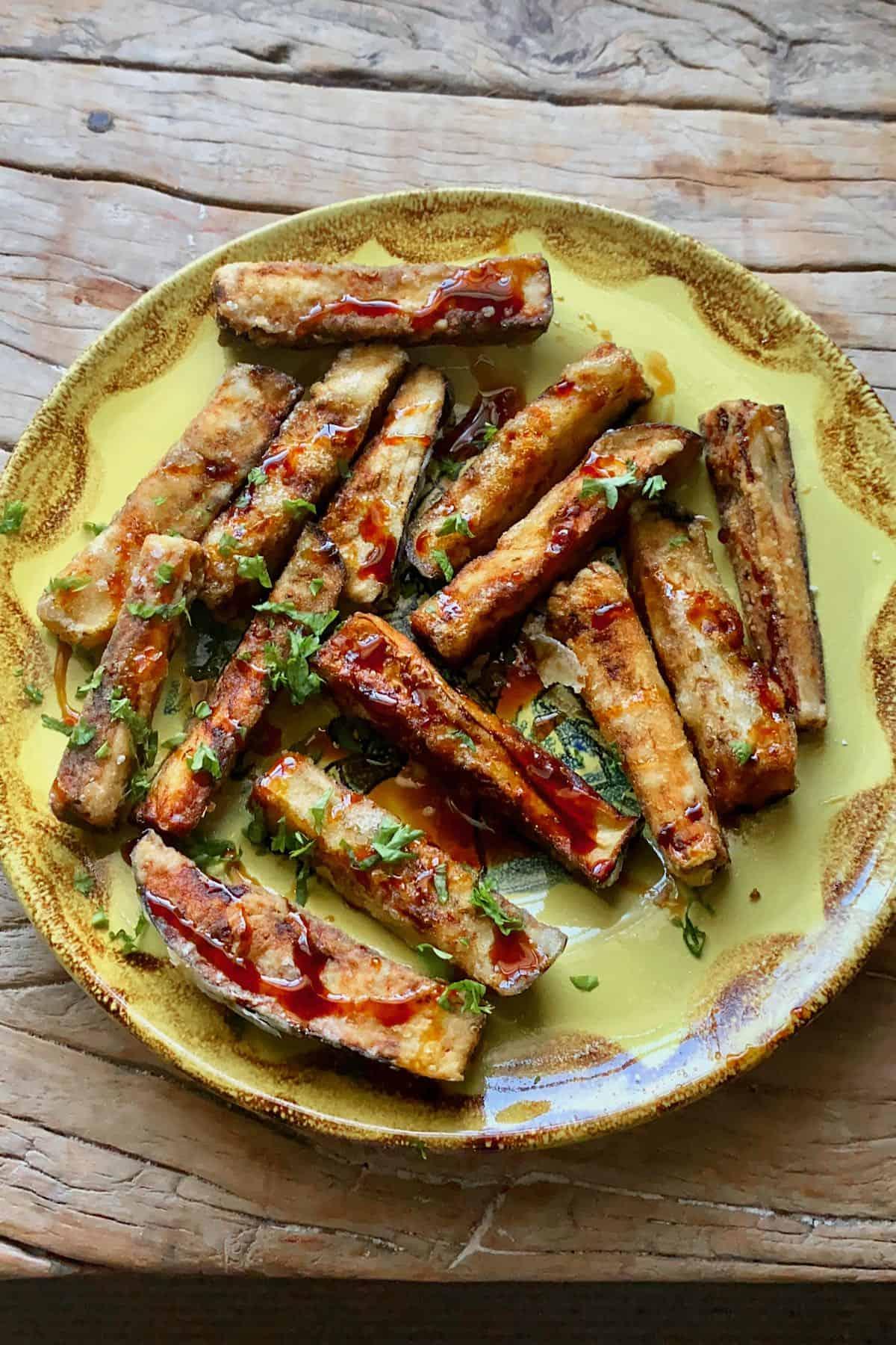 Eggplant fries on a plate