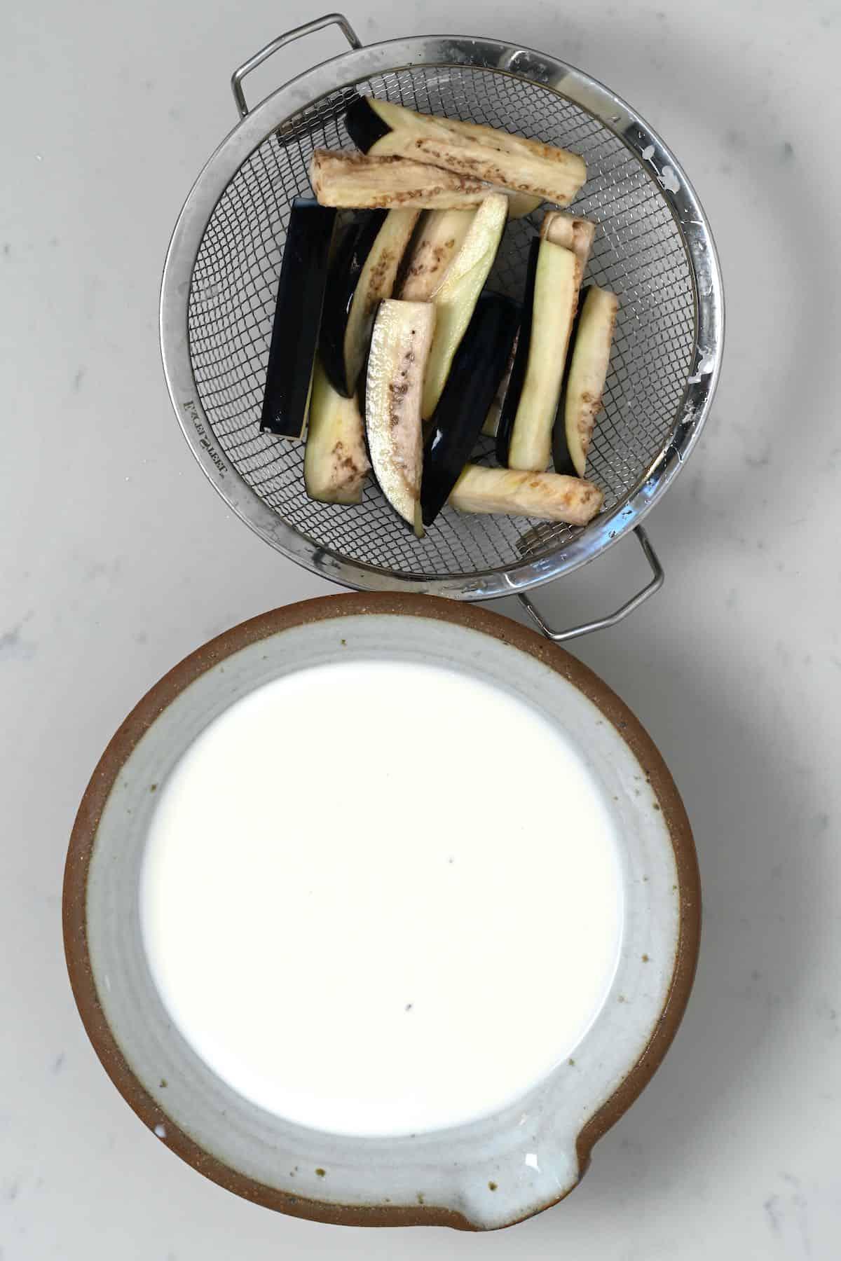 Eggplant slices soaked in milk