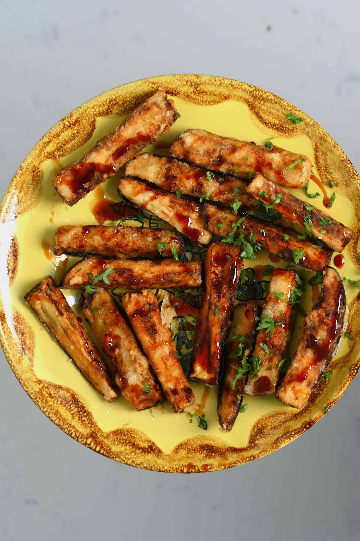 A plate with eggplant fries