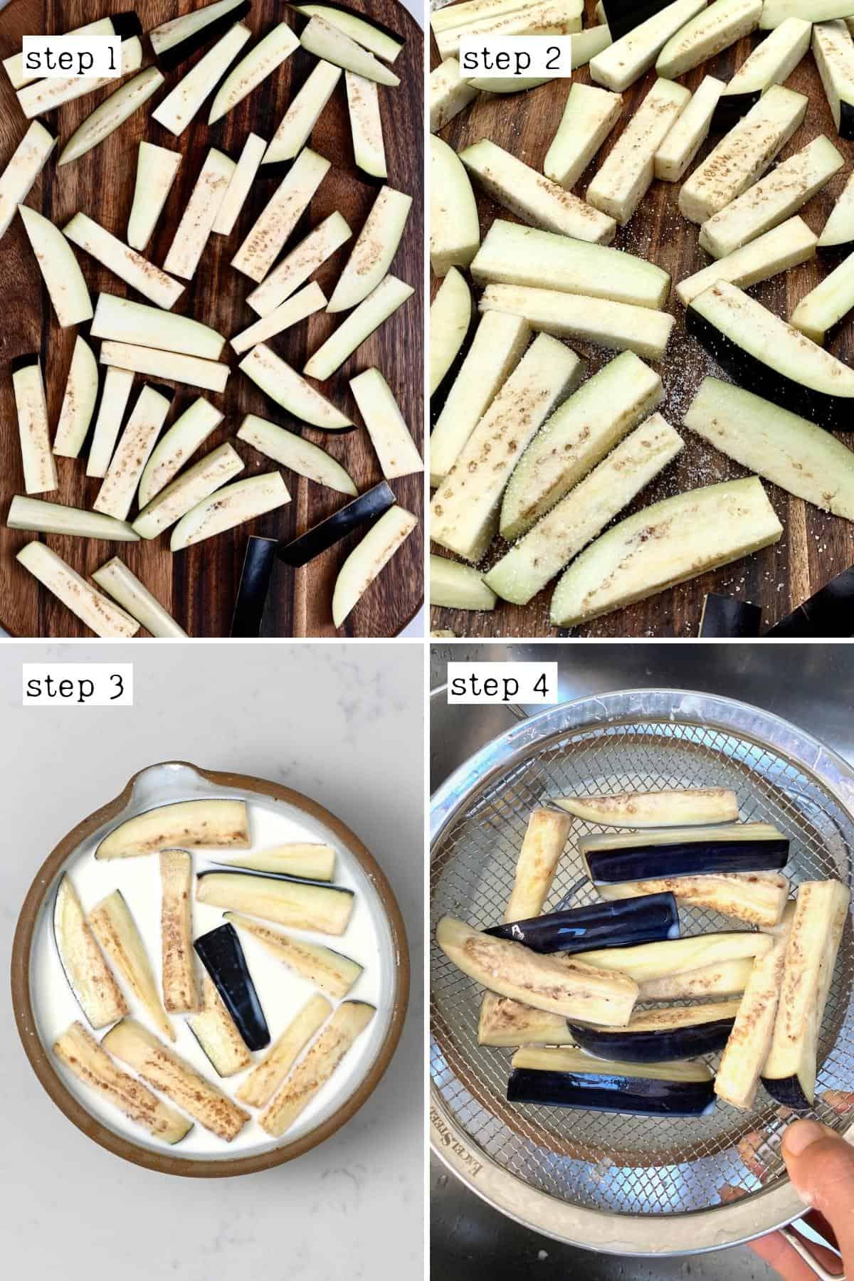 Steps for preparing eggplant chips