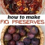 Homemade fig jam in a saucepan and figs in a bowl