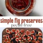 Homemade fig jam in a jar and cut figs on a cutting board