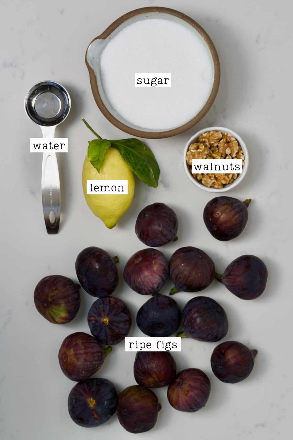 Ingredients for fig jam