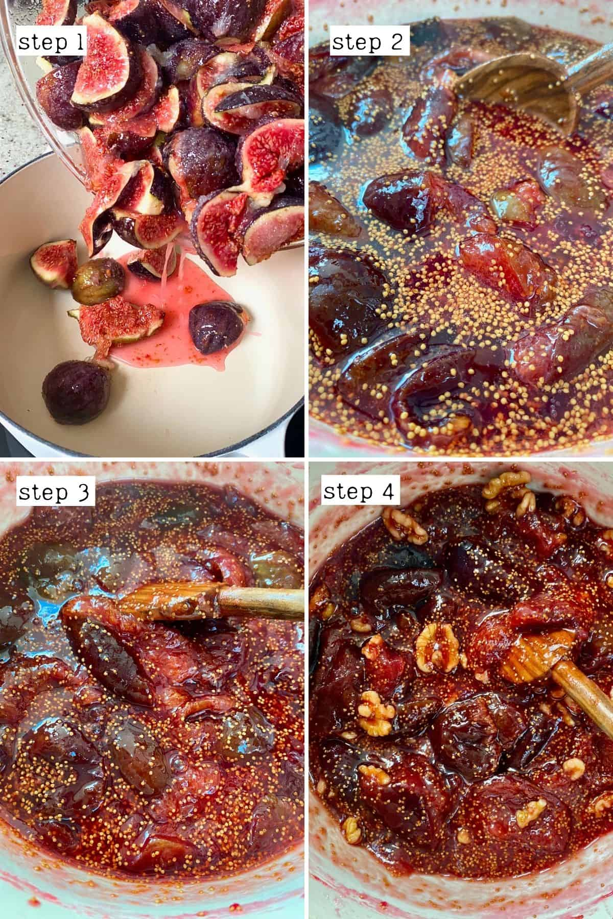 Steps for preparing fig jam with walnuts