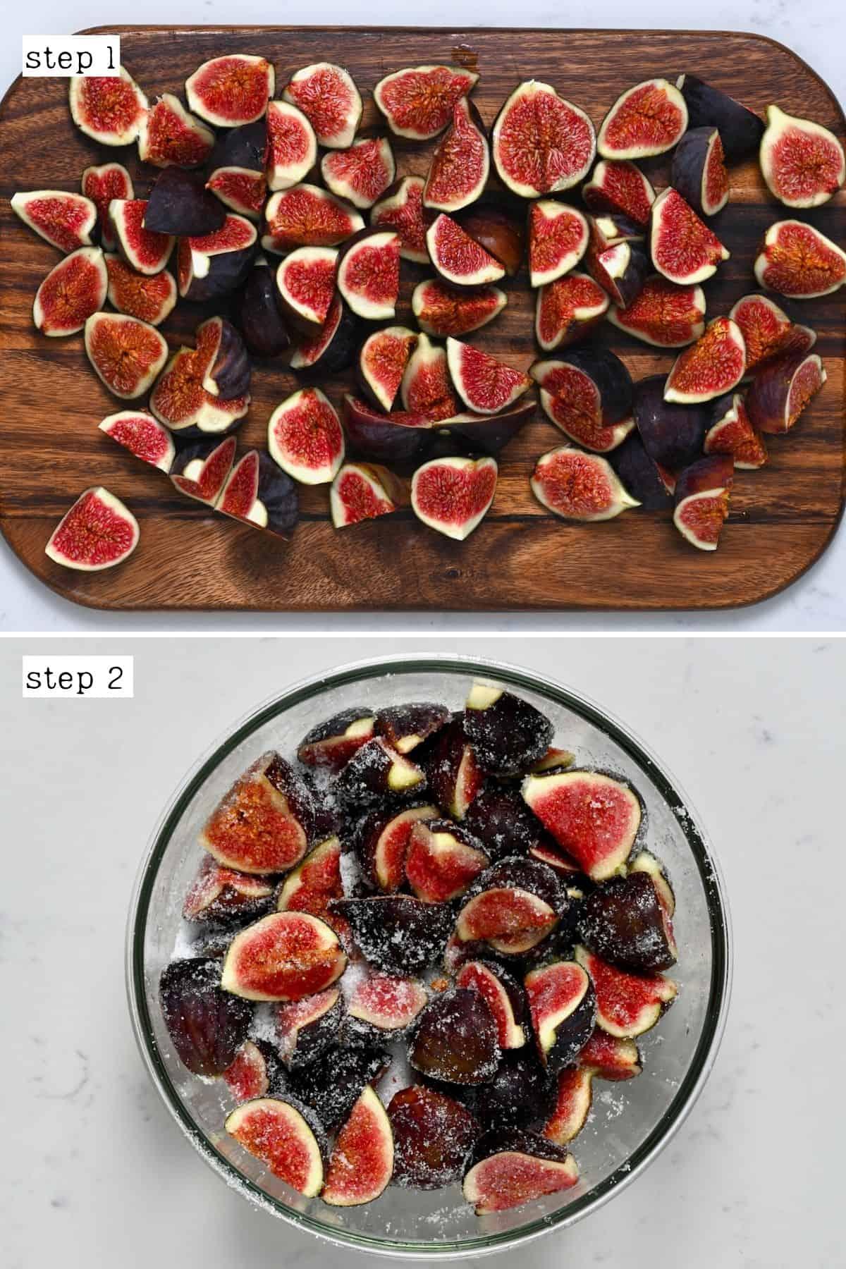 Steps for preparing figs for fig jam